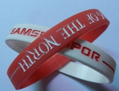 Debossed Fill Color Twin Silicone Wristbands