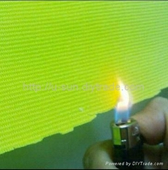 Fluorescent poly span fabric with anti-flaming finish