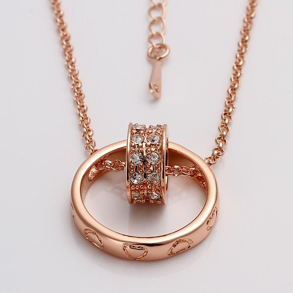 18K Double Rings Necklace With Austrian Crystal - 18KRGPN029 ... 68fbe51c56