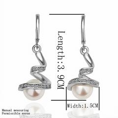 Elegant Pearl Crystal Plating Platinum Spiral Earring Party