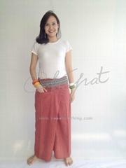 100% Thai Cotton Fisherman Pants Massage Cardinal Red Long Wrap Trouser with Tha