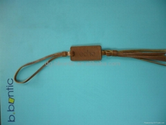Leather hang tag for garment tags