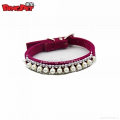 Pearl Crystal Necklace Velvet Dog Collars
