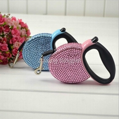 Small Retractable Dog Leash with Resin Rhinestone