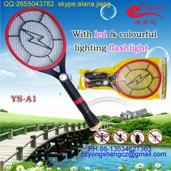 factory  hot sale electric mosquito swatter with led & detachable colourful ligh