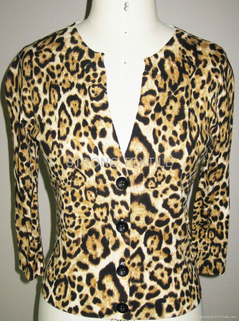 women LEOPARD print sweater cardigan 1