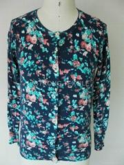 women FLOWER print sweater cardigan