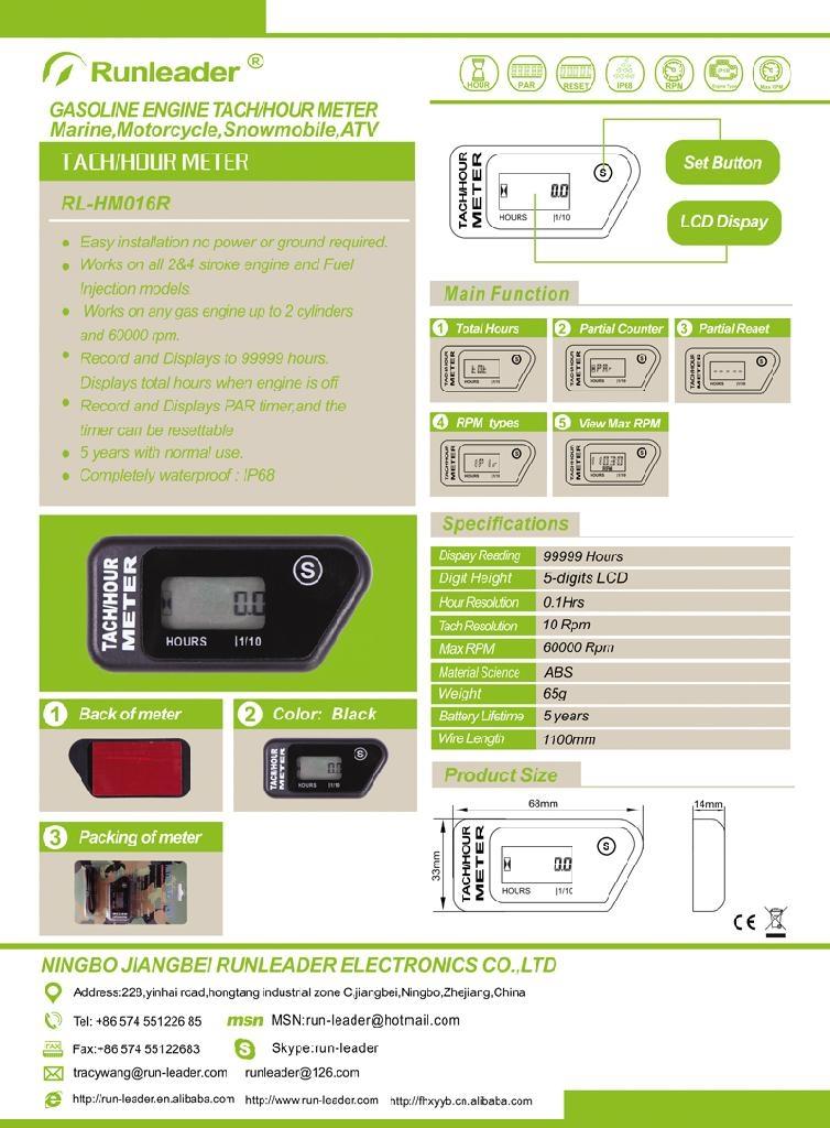 Waterproof LCD Inductive Tachometer/ Hour Meter For Gasoline
