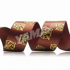 Puff + Golden Foil Printed Ribbon customized ribbon