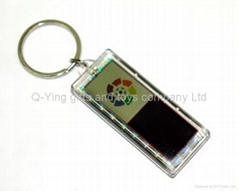 solar powered keychain with 2 logo