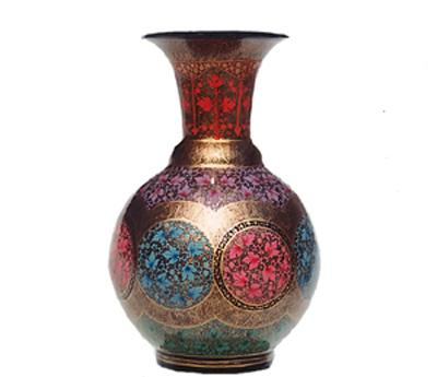 PAPER MACHIE VASE LACQUERED & GOLD PAINTED