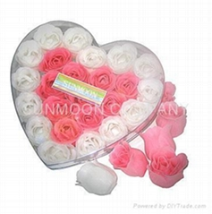 Scented soap flower/ flower soap in heart PVC case