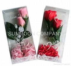 双头/单头带枝玫瑰香皂花入PVC彩盒