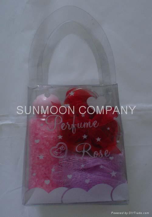 Bath gift set: Soap flower+ bath bubble +soap+bath caviar  2