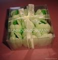 Tulip soap flower in PVC case