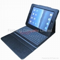 FS00080 Leather Case with Built-in Bluetooth Keyboard for iPad/ipad2