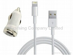 FS09345 USB Charging Data Transmission Flat Cable + Car Charger for iPhone 5 / i