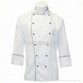 Traditional White Twill w/Spruce pinping/Sleeve Pocket chef coat