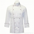 Traditional White Twill w/Burgundy/Sleeve Pocket Chef coat