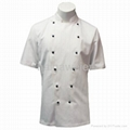 Traditional White Twill, Black Studs/Short Sleeves chef Jacket