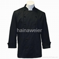 Traditional Black Fineline w/Knots/Sleeve Pocket chef coat