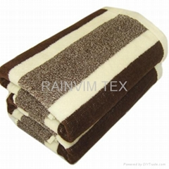100% cotton yarn dyed stripe velour bath towel
