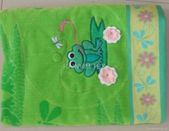 100% cotton jacquard beach towel with 3D embroidery