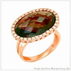 半宝石钻石戒指