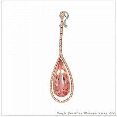 半宝石钻石耳环