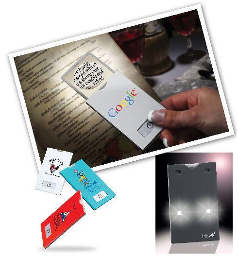 card-sized magnifier with light