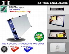 3.5''HDD Enclosure(CYPRESS CHIP,WITH COOL FAN)