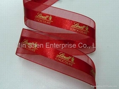 Satin Center Sheer Ribbon with One-Color Screen Print