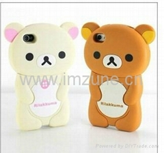 3D rilakkuma silicon case cover funda capa for iphone 4 iphone 4s iphone 5