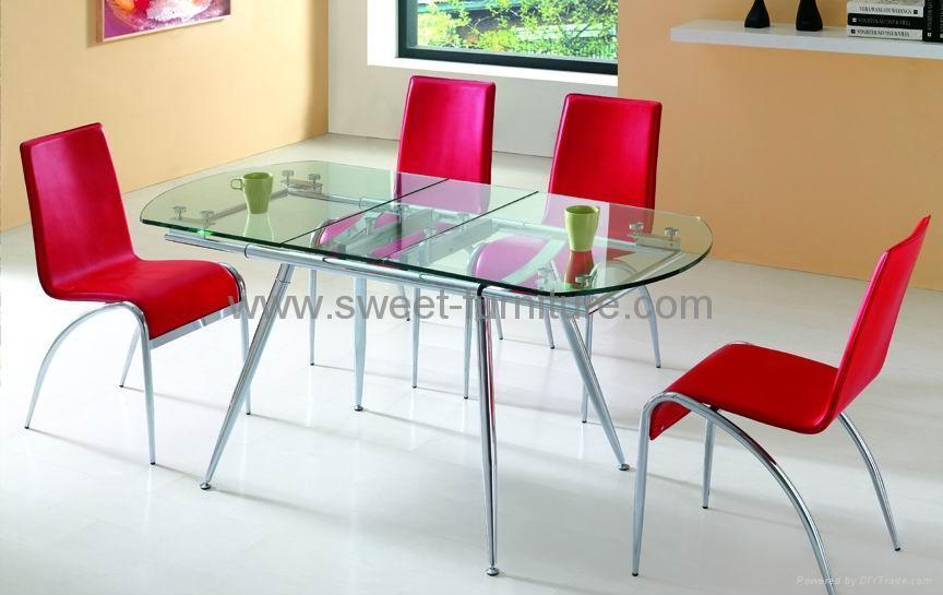 拉伸玻璃桌,餐厅家具,玻璃餐台,餐厅餐台,