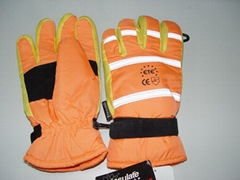 hv gloves with 3M retroreflective bands with thinsulate lining