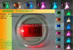 7彩LED 自然音電子鐘