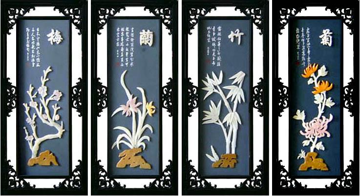工藝品--E502梅蘭竹菊*玉雕裝飾畫 1