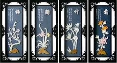工藝品--E502梅蘭竹菊*玉雕裝飾畫