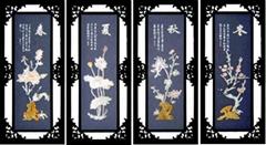 工藝品--E501春夏秋冬*玉雕裝飾畫