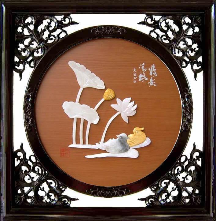 玉雕裝飾畫*C302荷花鴛鴦 1