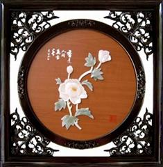 工藝品*C307芙蓉春華-玉雕裝飾畫