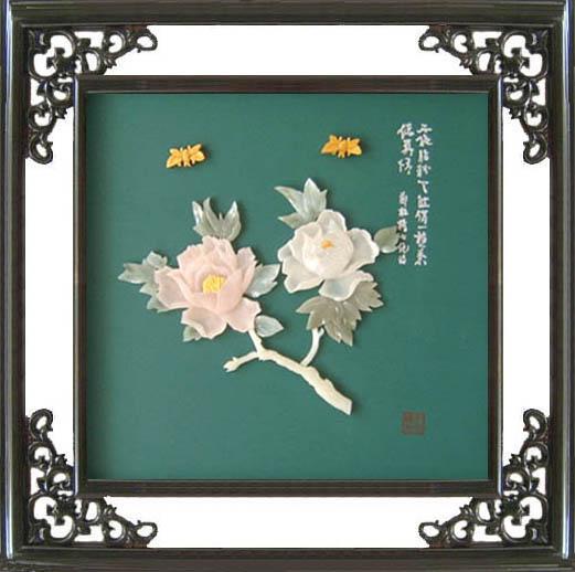 工藝品*B213牡丹-玉石裝飾畫 1