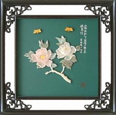 工藝品*B213牡丹-玉石裝飾畫