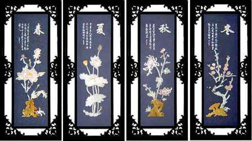 工藝品--E502梅蘭竹菊*玉雕裝飾畫 2