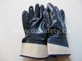 蓝色丁腈全浸棉布安全袖口手套