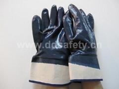 藍色丁腈全浸棉布安全袖口手套 DCN308
