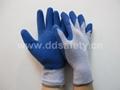 蓝色乳胶起皱紫棉纱手套 DKL