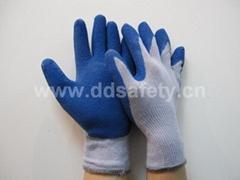 蓝色乳胶起皱紫棉纱手套 DKL329