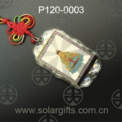 logo custom solar power car accessory hanging ornaments car pendants