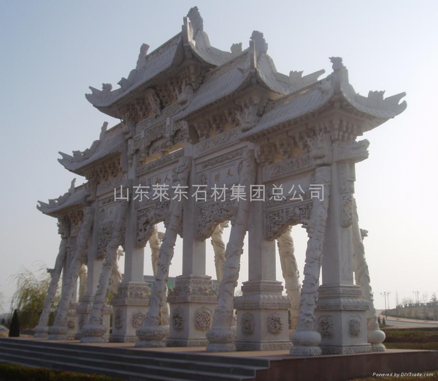 石刻涼亭樓閣牌坊雕像浮雕 2